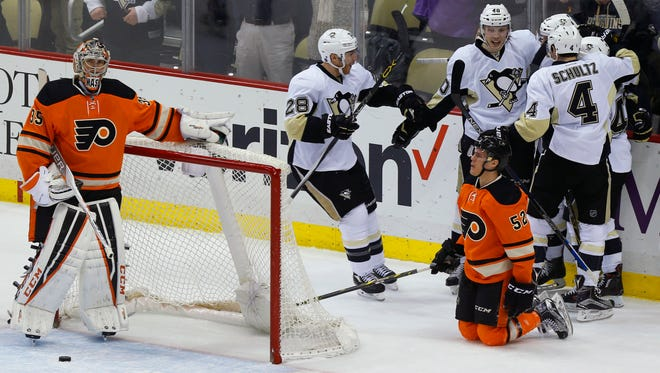 The Penguins lit up the Flyers for half a dozen goals Sunday in a 6-2 win.