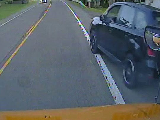 Video frame from a dash cam on a Chenango Forks school