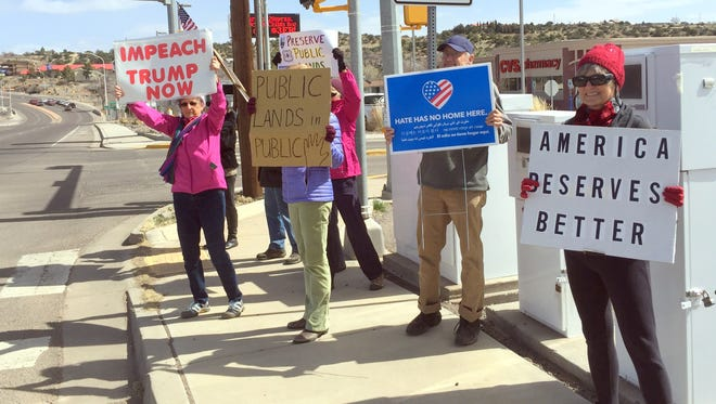 A few protestors make their statements during Tuesday's protest of U.S. Rep. Steve Pearce having his staff meet with different groups at Watts Hall in Silver City.
