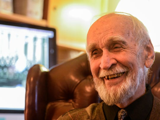 Myerstown resident John Wiest talks about his music career in his home on Monday, Feb. 22, 2016.