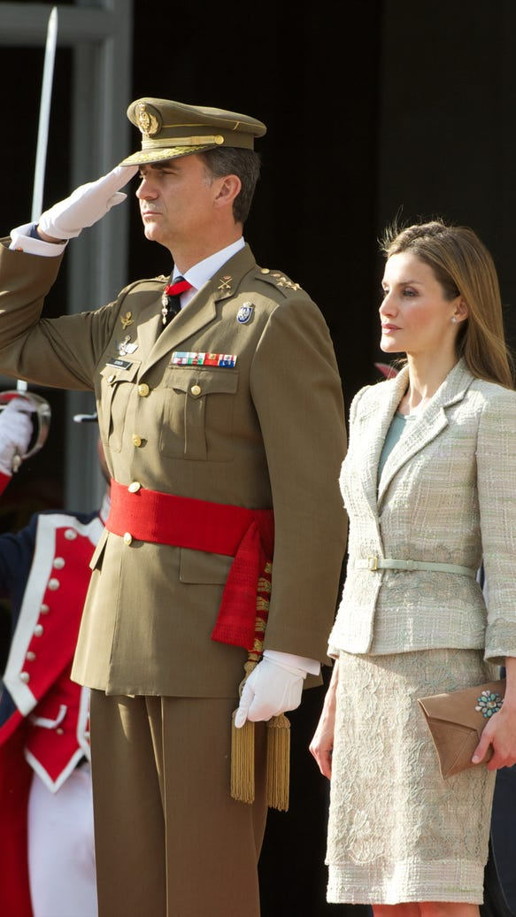 King Felipe VI and Queen Letizia receive Armed Forces and Guardia Civil at palace in Madrid on June 25.