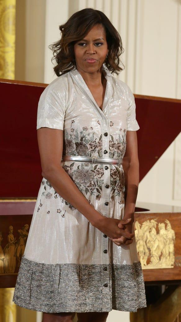 Michelle Obama in tea dress