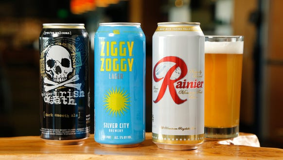 A sampling of ferry beers in cans.