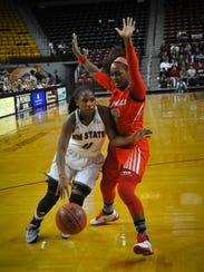 New Mexico State point guard Shanice Davis drives to