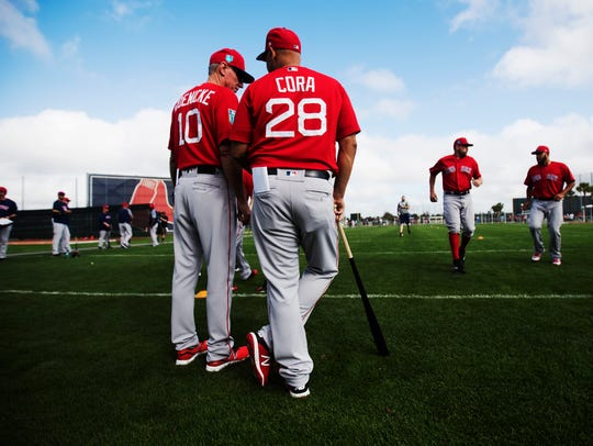 Boston Red Sox manager, Alex Cora talks with Red Sox