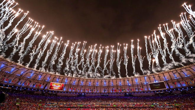 Aug 21, 2016: View of fireworks at the start of the closing ceremonies for the Rio 2016 Summer Olympic Games at Maracana.