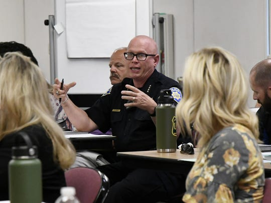 College of the Sequoias Police Chief Kevin Mizner discusses campus safety at TCOE's Crisis Response Plan workshop on Wednesday.