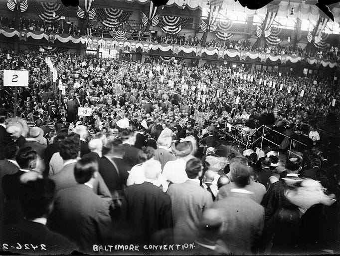 Delegates crowd the 1912 Democratic Convention in Baltimore.