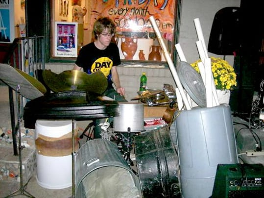 The Backroad members make a lot of their instruments from items such as PVC pipes and trashcans.