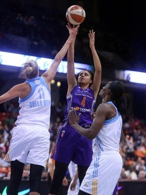 The Indiana Fever have traded for Candice Dupree, shown here playing for the Phoenix Mercury
