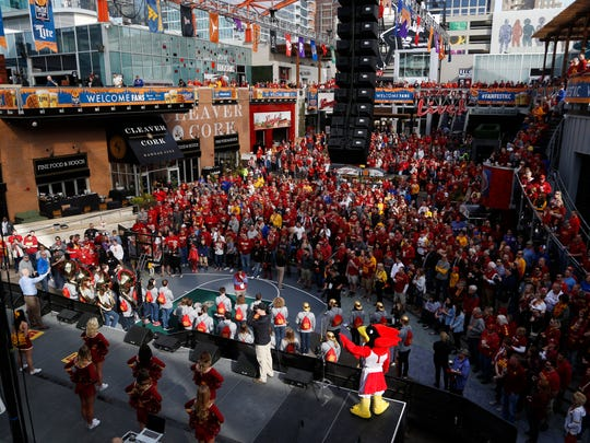 Iowa State fans fill the Power & Light District Thursday, March 9, 2017 during a pep rally before the Cyclones' game against Oklahoma State in the quarterfinals of the Big 12 Men's Basketball Championship in Kansas City.
