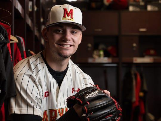 University of Maryland pitcher Hunter Parsons (17)