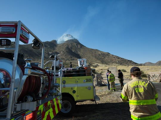 Bureau of Land Management firefighting units were among those responding to a fire north of I-70 on April 20, 2018.