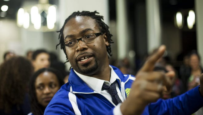 Kalimah Priforce leads a My Brother's Keeper hackathon in February 2015.