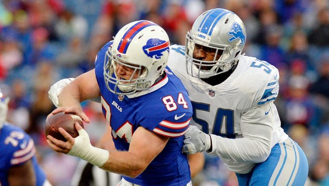 Detroit Lions' Steve Longa tackles Buffalo Bills' Nick O'Leary during the first half Thursday, Aug. 31, 2017 in Orchard Park,