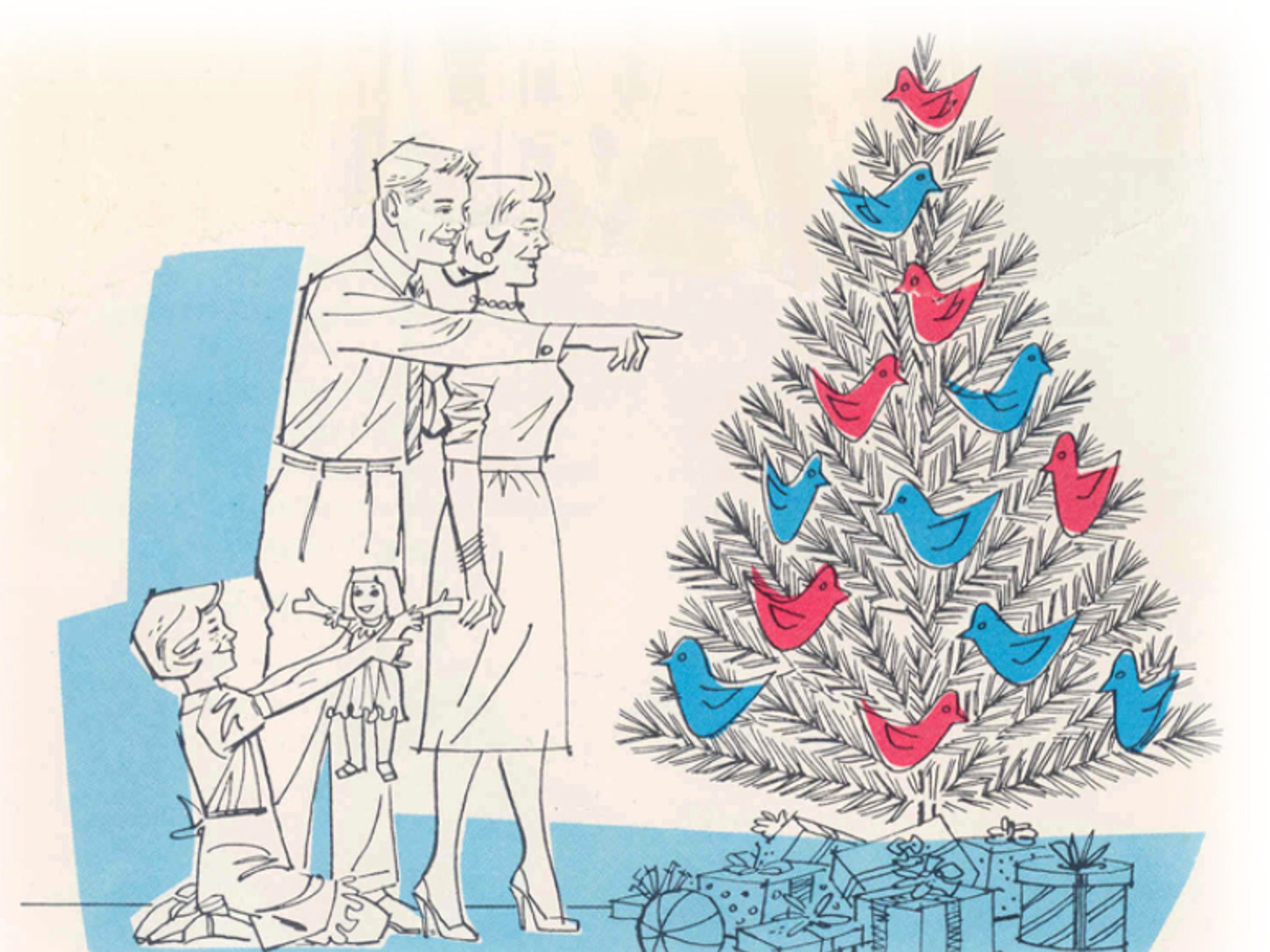 "An excerpt from a 1959 brochure from the Aluminum Company of America (ALCOA) titled ""How to decorate your aluminum Christmas tree."""