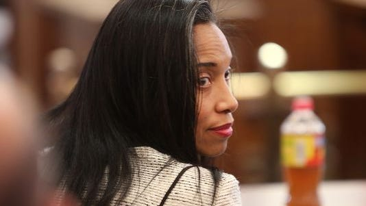 Judge Tracie Hunter during opening statements in her criminal trial Wednesday.