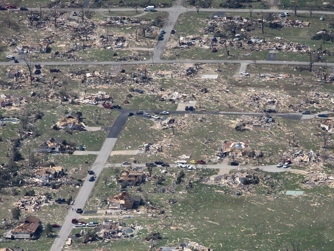 An aerial view of tornado damage in Joplin on Tuesday,
