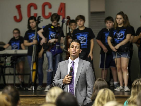 Marty Pollio speaks to a group of JCPS counselors attending