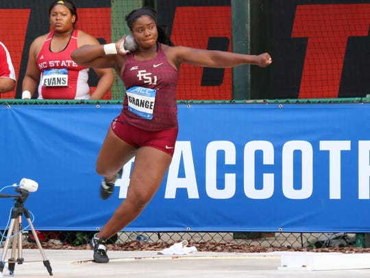 FSU's Gleneve Grange throws shot put at the FSU Outdoor Track & Field Championships. Grange won an ACC title in the event.