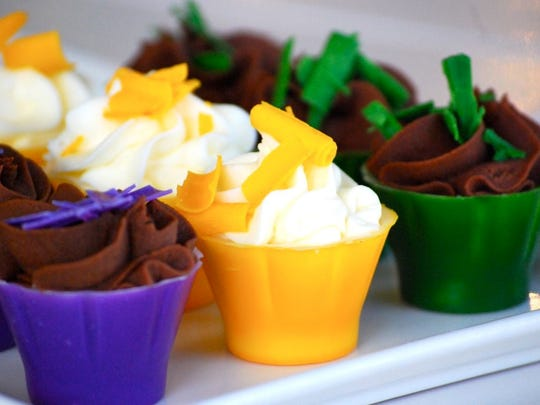 Indulge in Lafayette offers mini mousse shots inspired by king cake.