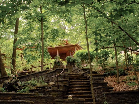 Steps leading up to The Sanctuary, a quiet space for contemplation and daily meditation classes at Omega.