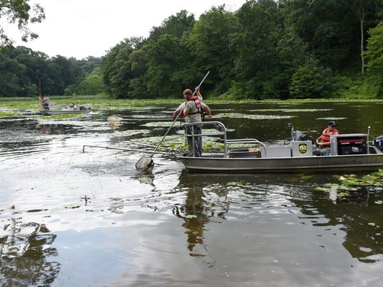 A pair of ODNR boats troll Cutler Lake in Blue Rock State Park collecting fish. The fish were relocated to the Muskingum River.