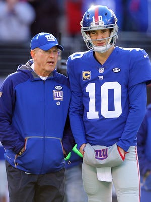 Giants coach Tom Coughlin and QB Eli Manning have been paired for 12 seasons.