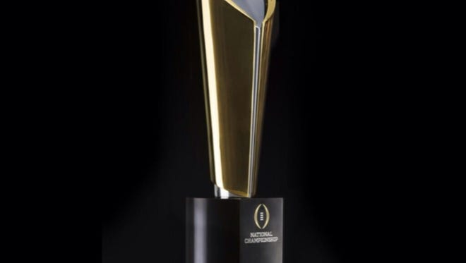 The new College Football Playoff trophy.