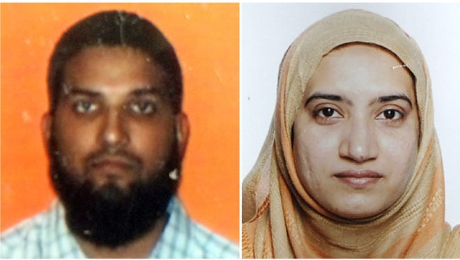 In this combo photo shows the two suspects in the December 2, mass shooting in San Bernardino, California,  (LEFT) an undated Student ID card photo from California State University, Fullerton, shows Syed Farook, the card was found in the Farook's apartment after the landlord allowed entry to members of the media on December 4, 2015. (RIGHT) In this undated handout photo released by the FBI on December 4, 2015, shows a picture of Tashfeen Malik.