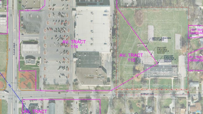This illustration shows a Des Moines airport easement covering a triangle of a property where local developer Jim Conlin wants to build senior apartments.