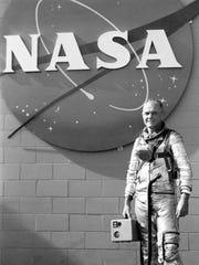 US astronaut John Glenn poses, on January 20, 1962