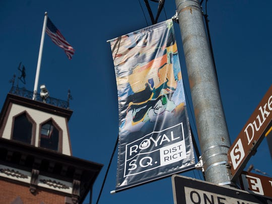 Royal Square flags on East King Street in York Tuesday October 20, 2015. There are four different pictures.