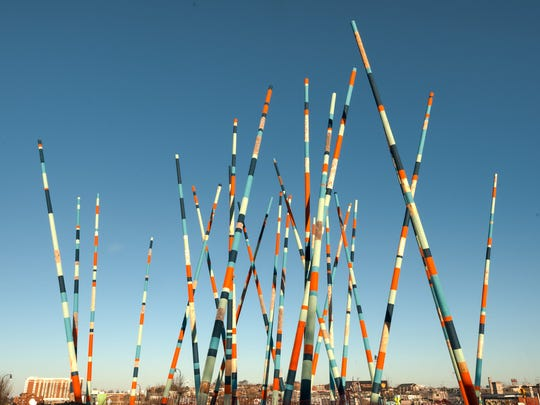 "Christian Moeller's ""Stix"" installation is at the Korean Veterans Boulevard roundabout."