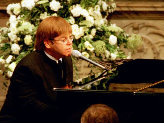 Elton John performs at Princess Diana's funeral