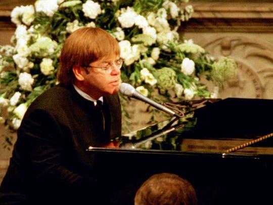 Elton John performs at Princess Diana's funeral