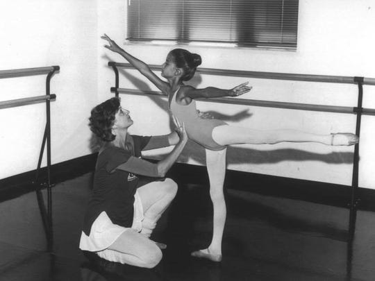 Alabama Dance Theater's Kitty Seale, left, and young