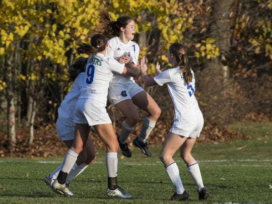 Colchester celebrates a goal during the girls soccer semi final game between the St. Johnsbury Hilltoppers and the Colchester Lakers at Colchester High School on Wednesday afternoon November 2, 2016 in Colchester.