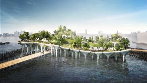 This artist's rendering by Heatherwick Studio and provided by Risa Heller Communications shows a proposed park and performance space to be known as Pier 55, in the Hudson River on the lower west side of New York. The park, to be largely funded by media mogul Barry Diller and his wife, fashion designer Diane von Furstenberg, would be built on an undulating platform jutting about 180-feet into the river.