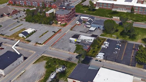 An aerial view with the site at 706-710 Third Ave. S. in the middle.