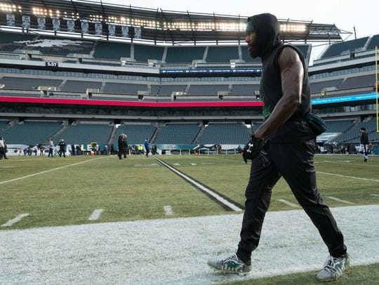 Malcolm Jenkins at Lincoln Financial Field before a