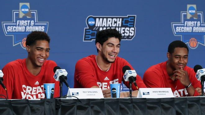 U of L's Ray Spalding, Anas Mahmoud and V.J. King talked about advancing to the round of 32 against Michigan during a NCAA tournament press conference at the Bankers Life Fieldhouse in Indianapolis.