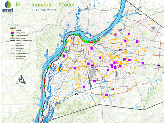 This map shows areas that flooded based on computer