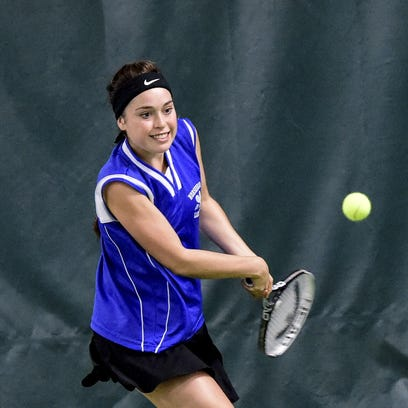 Meredith Braiman of Horseheads competes in last year's Section 4 state qualifier at the Binghamton Tennis Center.