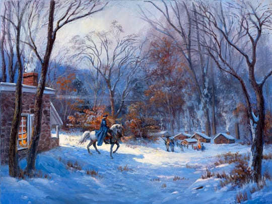 Gen. George Washington endured a harsh winter at Valley Forge with his troops in 1777.