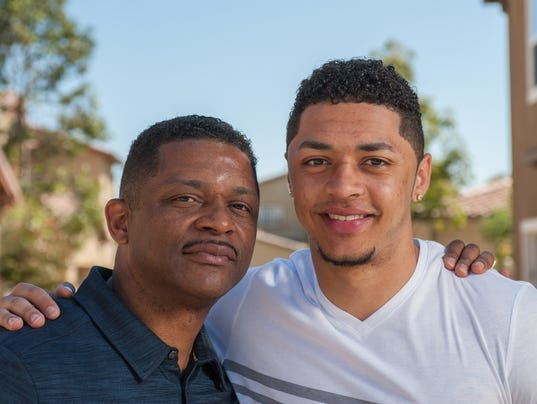 Handsome college boy and his dad