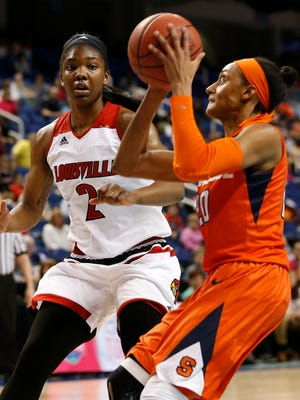 Mar 5, 2016; Greensboro, NC, USA; Syracuse Orange guard Brittney Sykes (20) prepares to shoot the ball as Louisville Cardinals forward Myisha Hines-Allen (2) defends in the first half during the women's ACC conference tournament at Greensboro Coliseum Complex. Mandatory Credit: Jim Dedmon-USA TODAY Sports