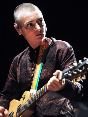 Irish singer Sinead O'Connor performs on Aug. 11, 2013 during the Inter-Celtic Festival of Lorient, France.
