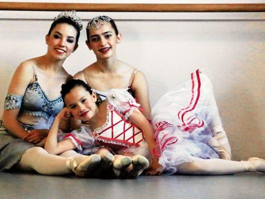 Jadyn Nelms, left, Victoria Villarreal and Lauren Gonzalez, bottom, are students of ballet at Olga's Russian Ballet School in West El Paso.