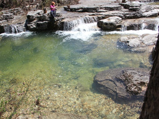 Crystal-clear water welcomes hikers on a Hercules Glade hike near Branson, Mo.